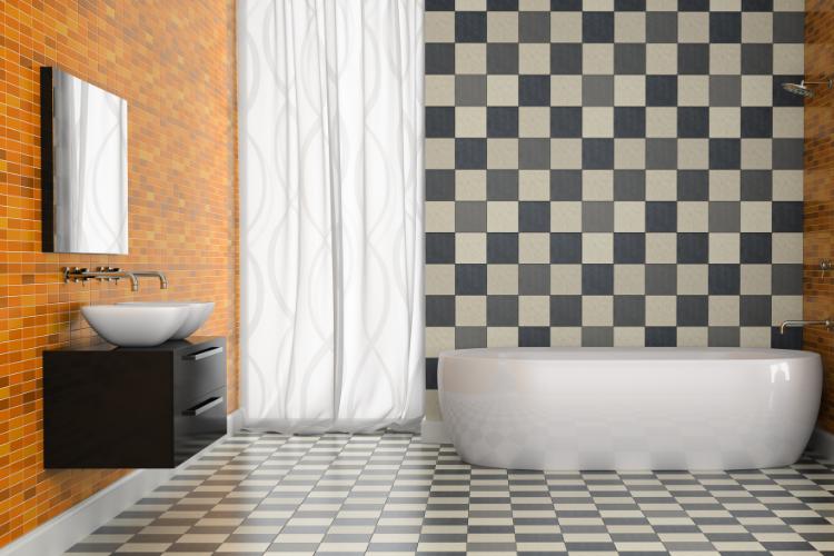 décoration salle de bain mur à damier noir et blanc échiquier